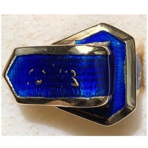14KT Yellow Gold Belt Buckle Blue Enamel Ring